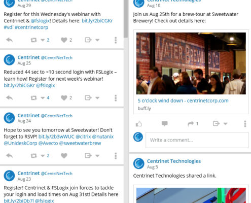 tweets from Centrinet digital marketing campaign